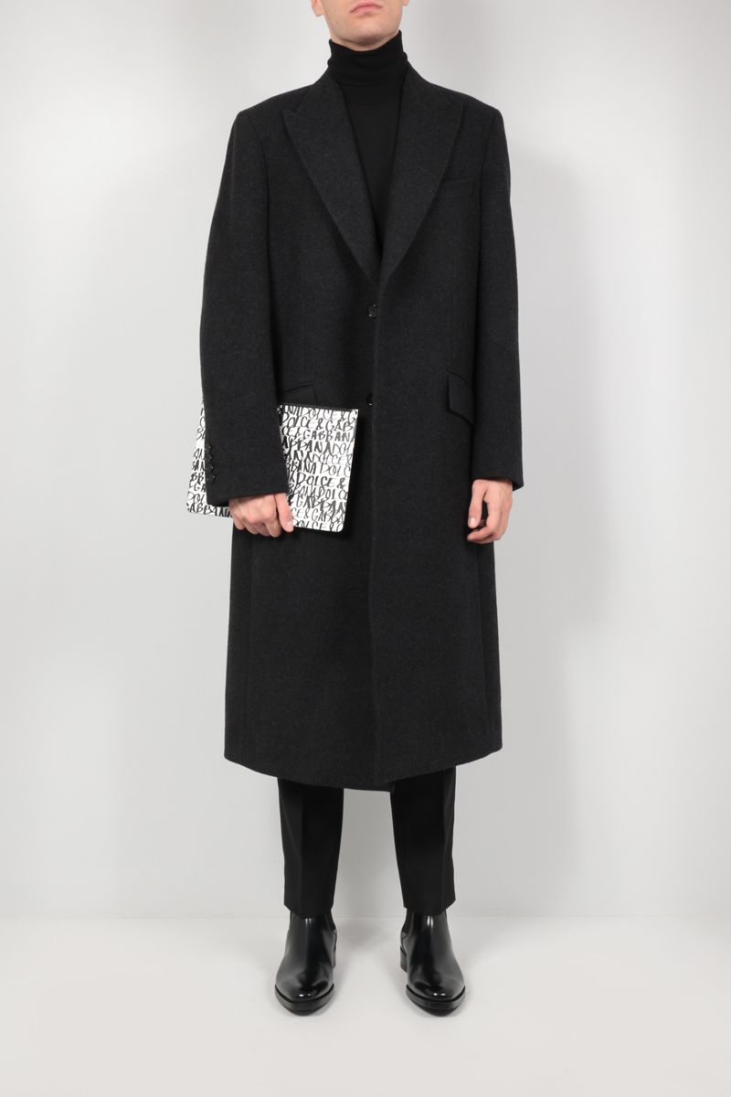 DOLCE & GABBANA: single-breasted wool coat Color Grey_2