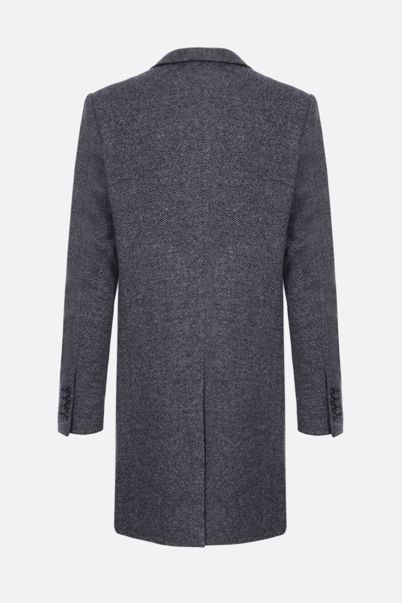 DOLCE & GABBANA: herringbone wool blend single-breasted coat Color Grey_2