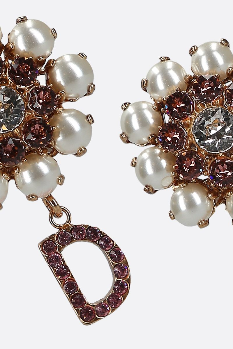 DOLCE & GABBANA: crystal-embellished brass earrings Color Gold_2