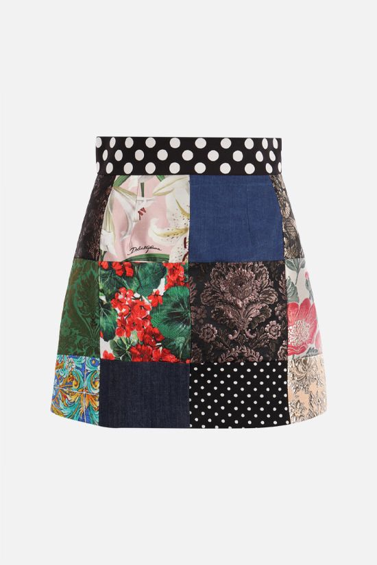 DOLCE & GABBANA: A-line miniskirt in a patchwork of fabrics Color Multicolor_1