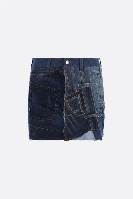 DOLCE & GABBANA: patchwork denim miniskirt Color Multicolor_1
