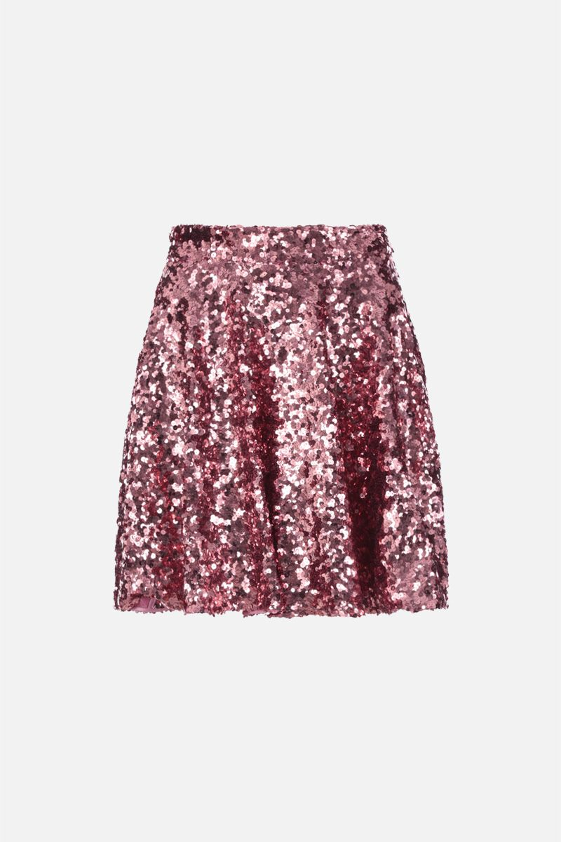 DOLCE & GABBANA: gonna a ruota in paillettes Colore Rosa_1