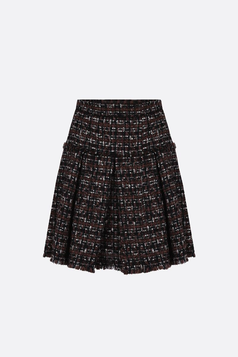 DOLCE & GABBANA: tweed pleated skirt Color Neutral_1