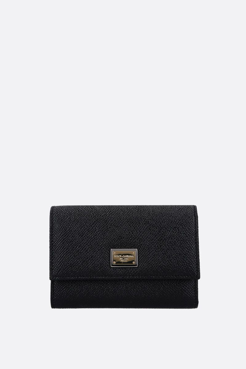 DOLCE & GABBANA: Dauphine leather french wallet Color Black_1