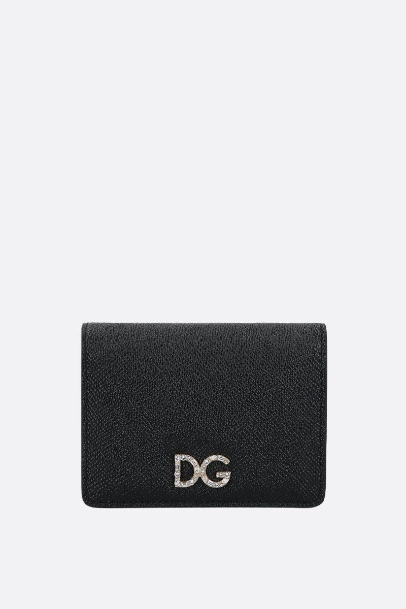 DOLCE & GABBANA: DG-detailed Dauphine leather mini wallet Color Black_1
