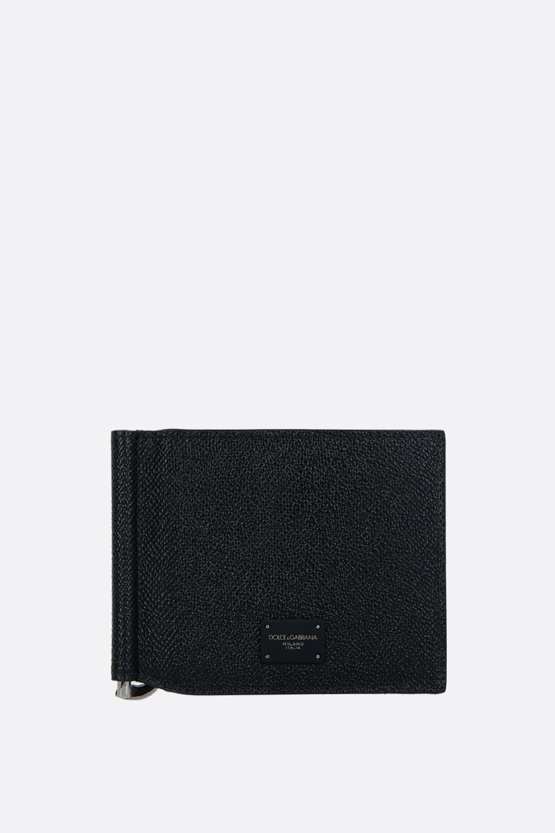 DOLCE & GABBANA: Dauphine leather money-clip wallet Color Black_1