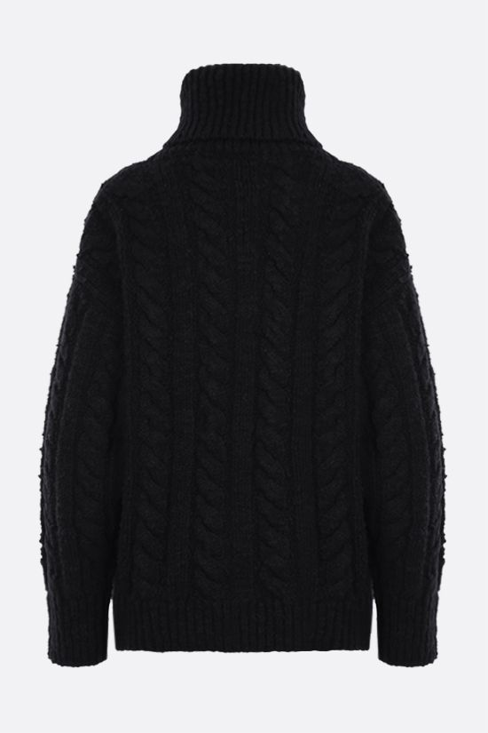 DOLCE & GABBANA: oversized wool cashmere blend turtle-neck pullover Color Black_2