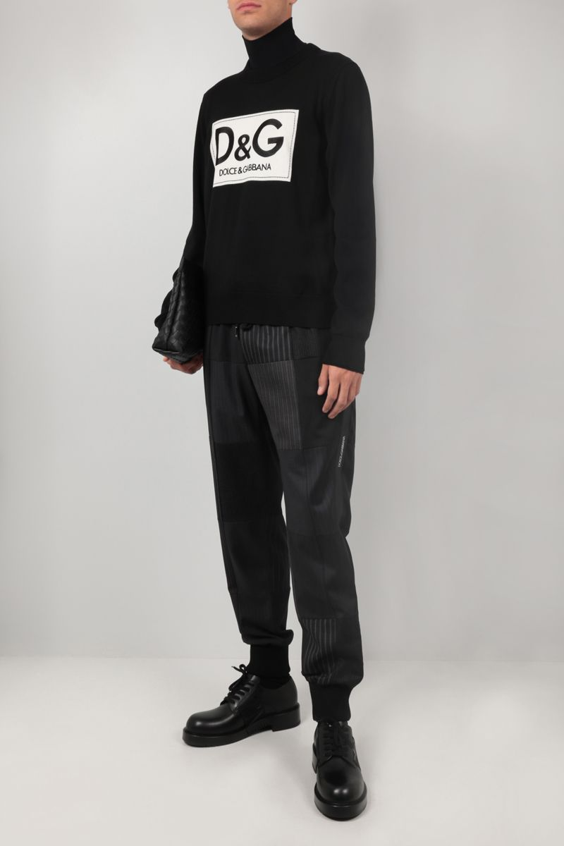 DOLCE & GABBANA: logo embroidery wool pullover Color Black_2