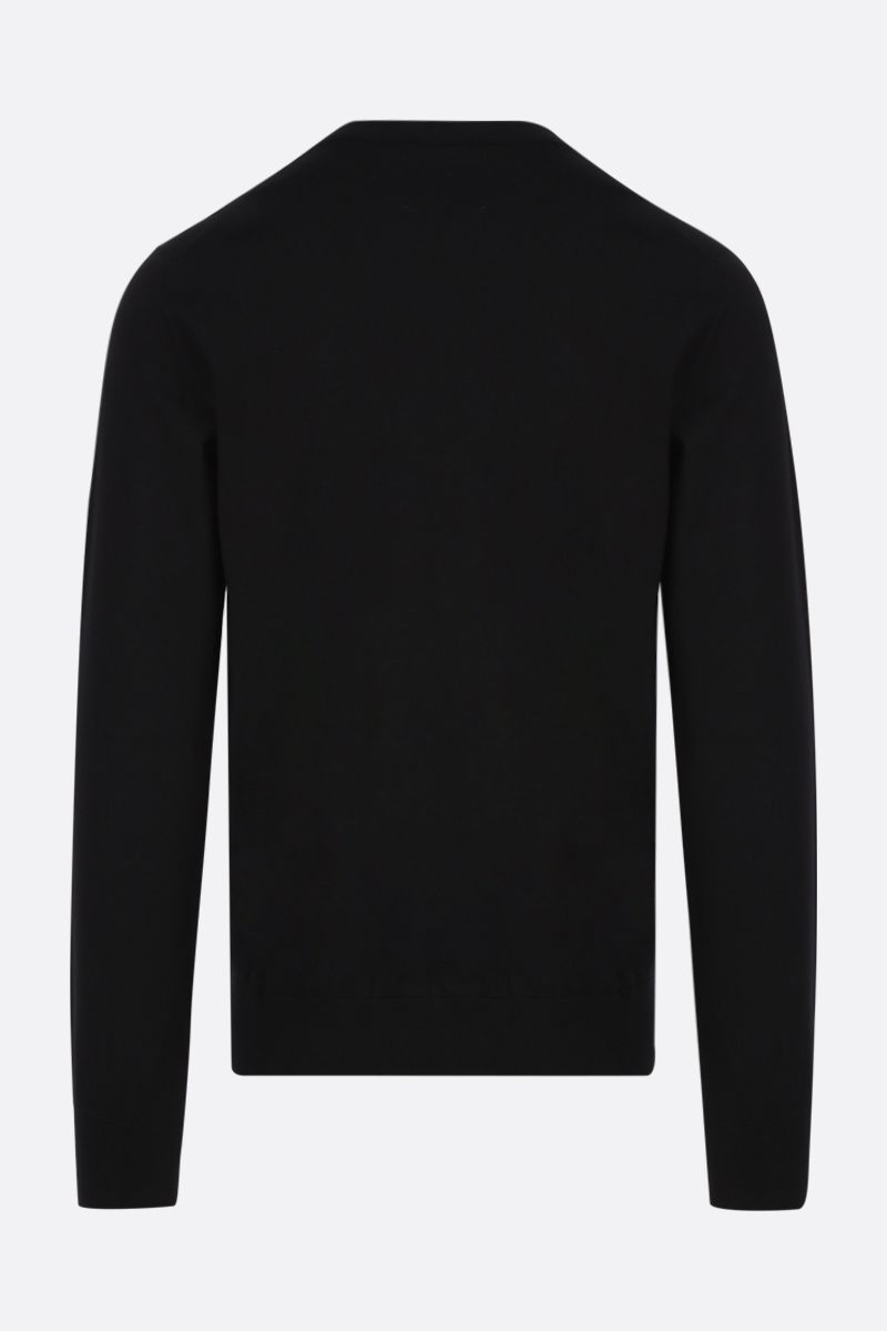 DOLCE & GABBANA: logo embroidered wool pullover Color Black_2