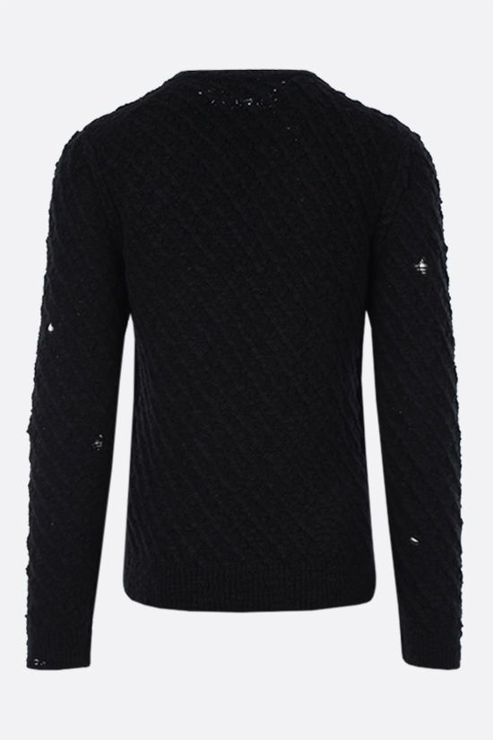 DOLCE & GABBANA: distressed-effect wool pullover Color Black_2