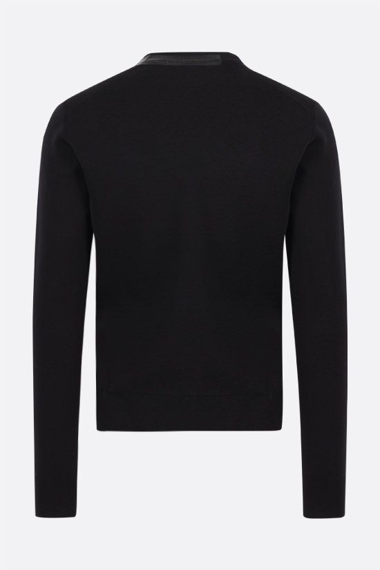 DOLCE & GABBANA: logoed bands-detailed cotton silk blend pullover Color Black_2