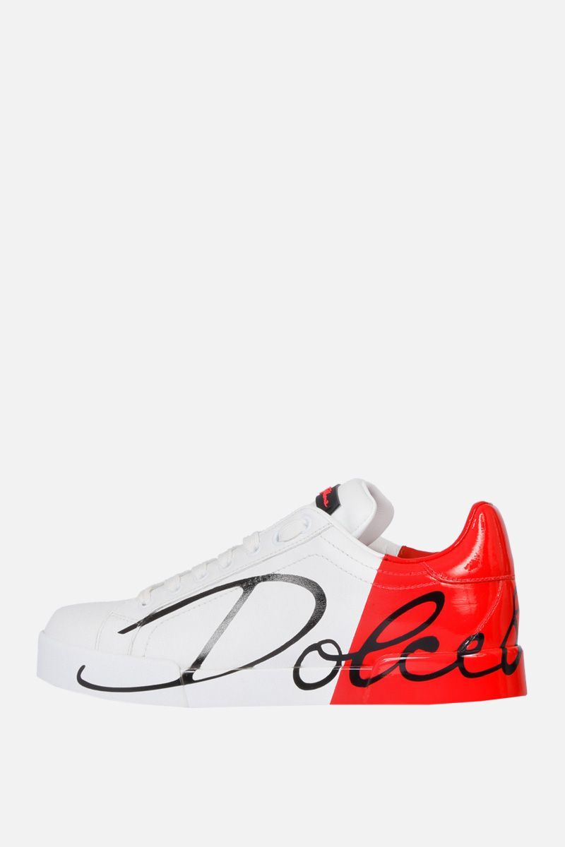 DOLCE & GABBANA: Portofino sneakers in smooth and patent leather Color White_2