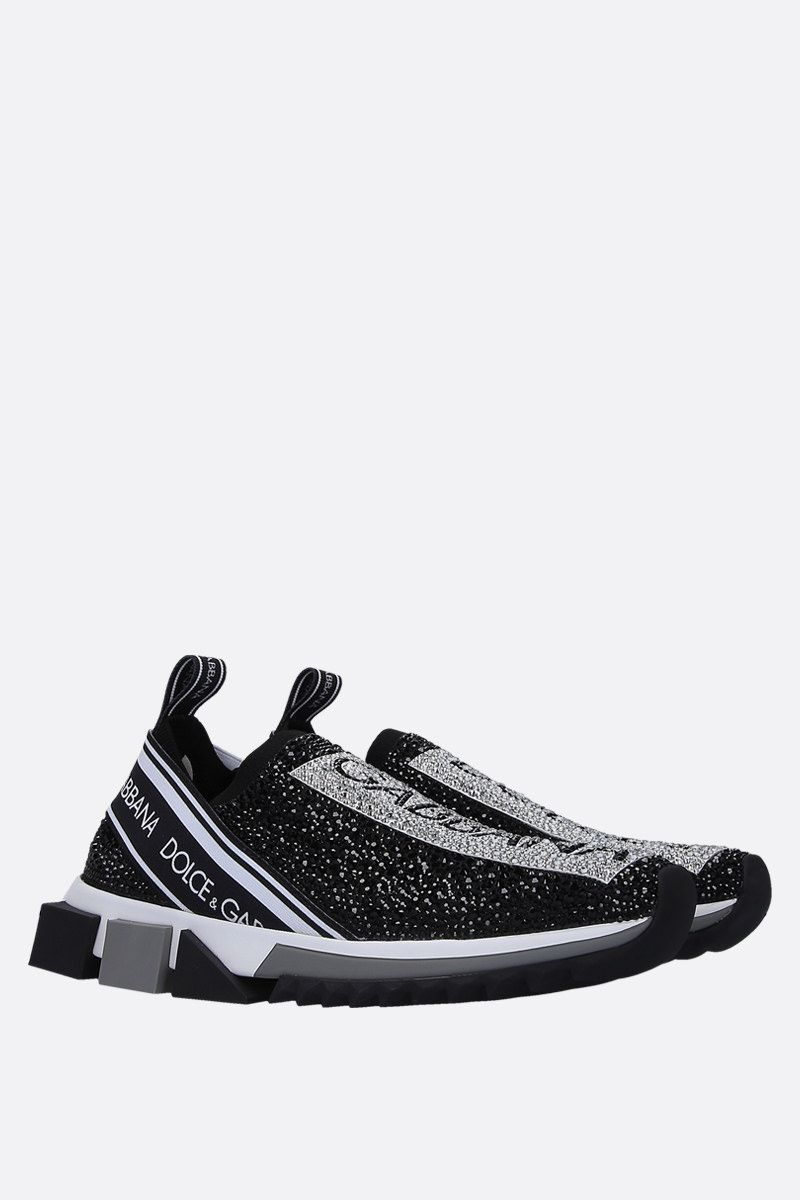 DOLCE & GABBANA: Sorrento sneakers in crystal-embellished stretch knit Color Black_2