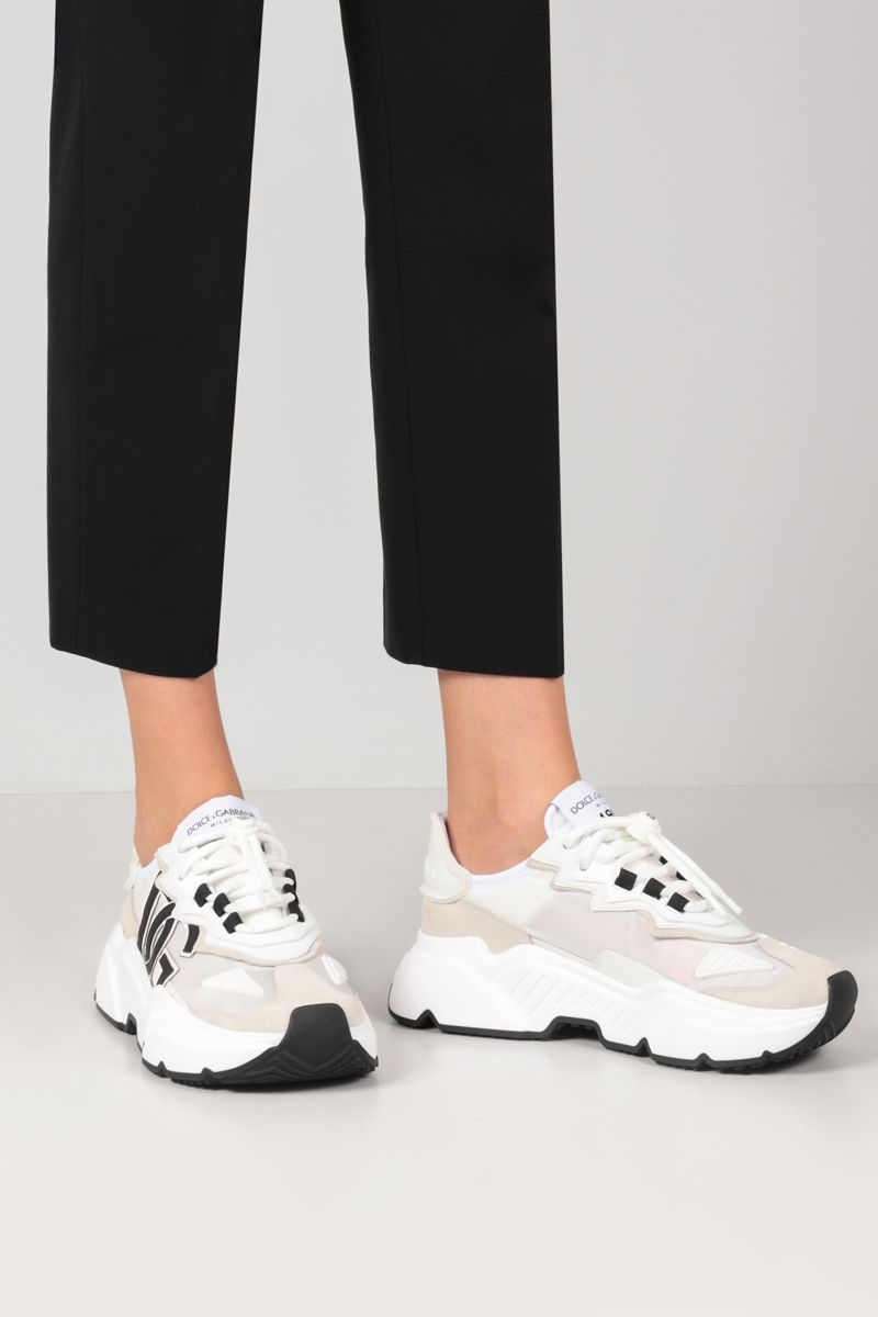 DOLCE & GABBANA: Daymaster sneakers in a mix of materials Color White_2