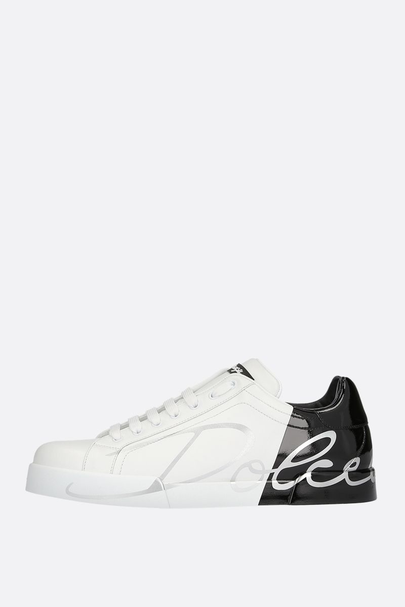 DOLCE & GABBANA: Portofino smooth and patent leather sneakers Color White_2
