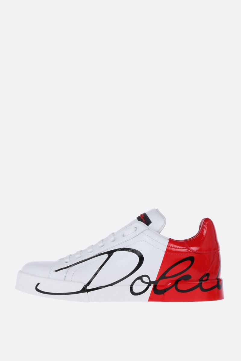 DOLCE & GABBANA: Portofino smooth and patent leather sneakers Color Neutral_2