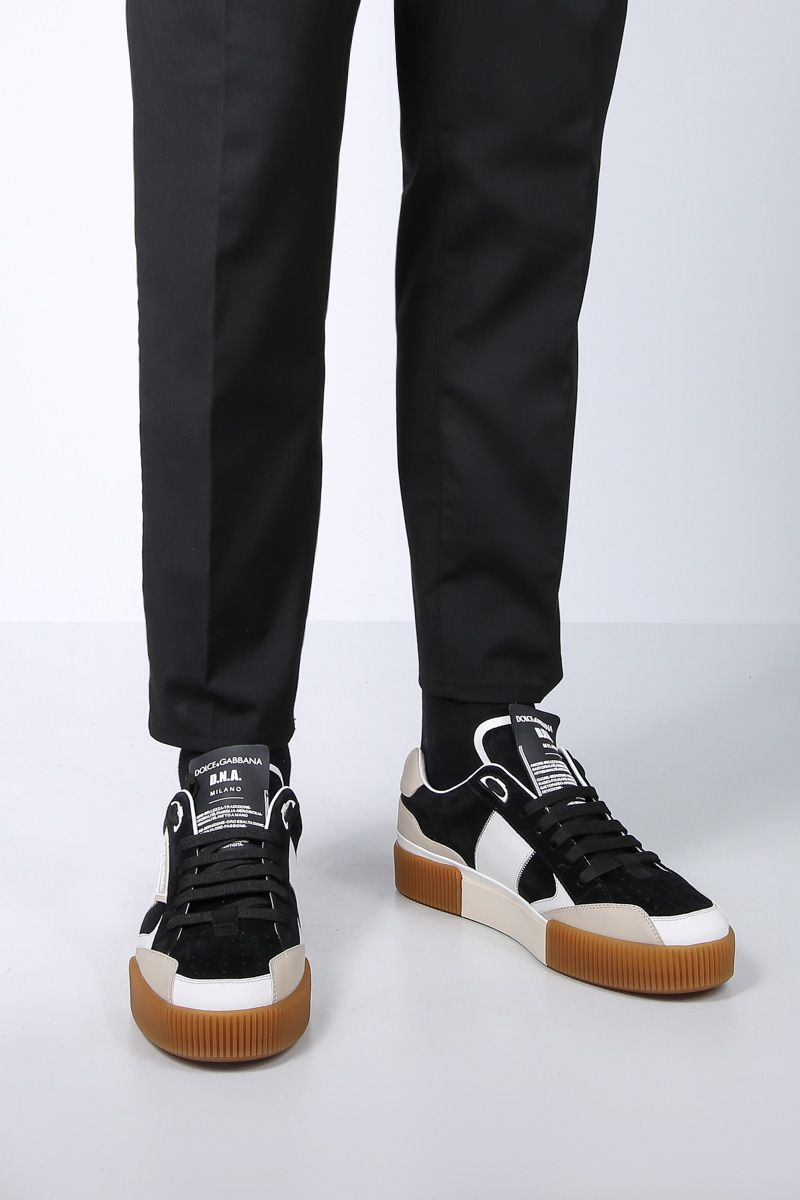 DOLCE & GABBANA: Miami low-top sneakers in smooth leather and suede Color Black_2
