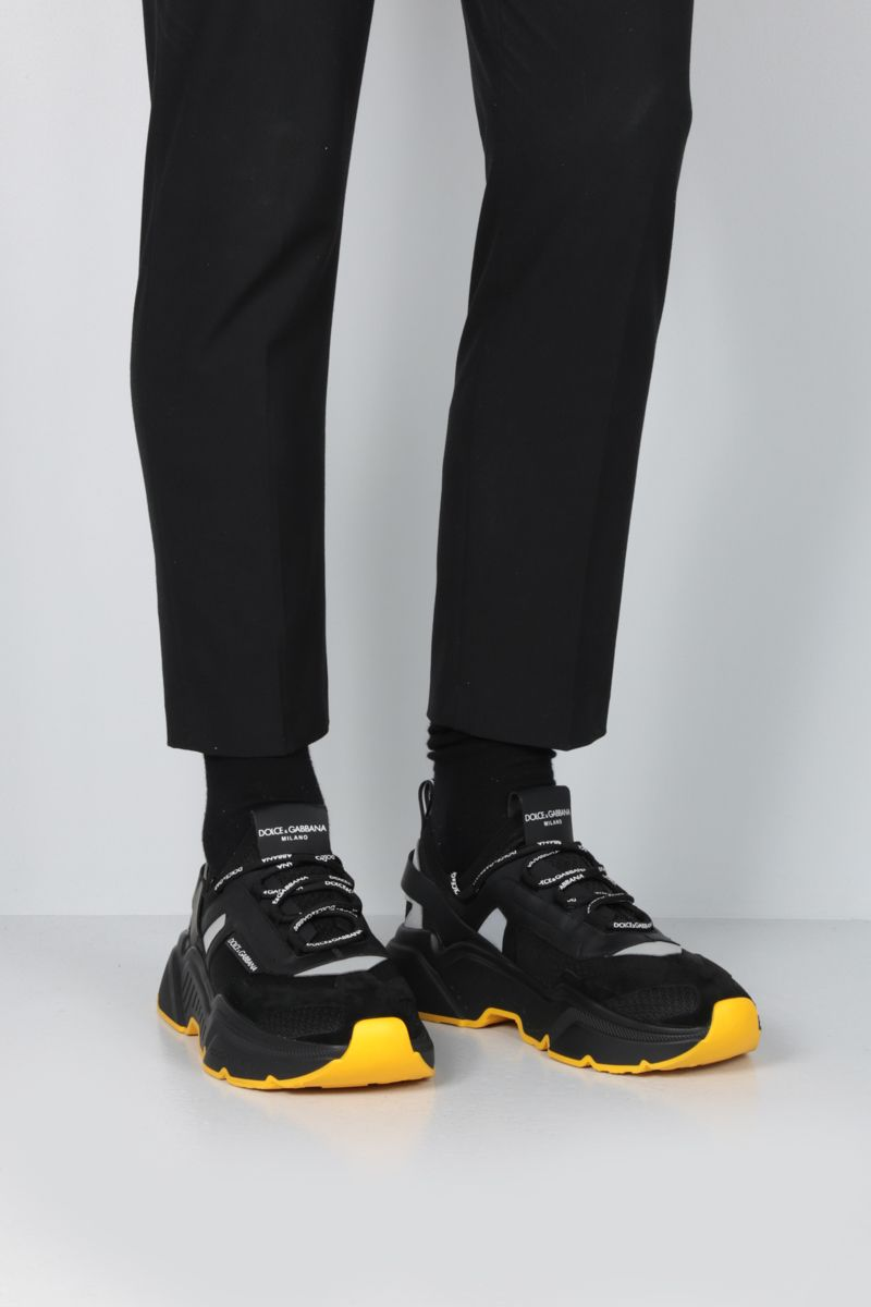 DOLCE & GABBANA: Daymaster stretch knit and leather sneakers Color Black_2