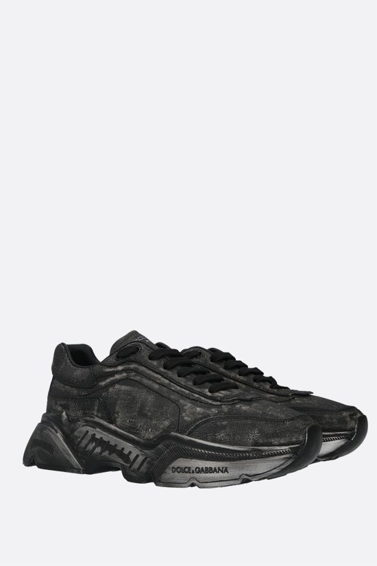 DOLCE & GABBANA: Day Master crackled leather sneakers Color Black_2