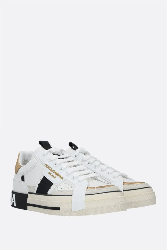 DOLCE & GABBANA: Custom 2.Zero smooth and Dauphine leather sneakers Color Gold_2