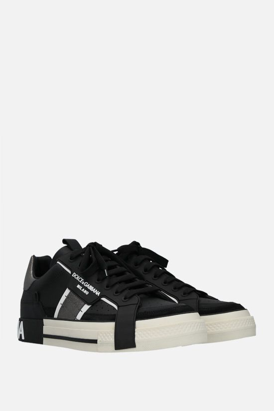 DOLCE & GABBANA: Custom 2.Zero smooth and Dauphine leather sneakers Color Black_2