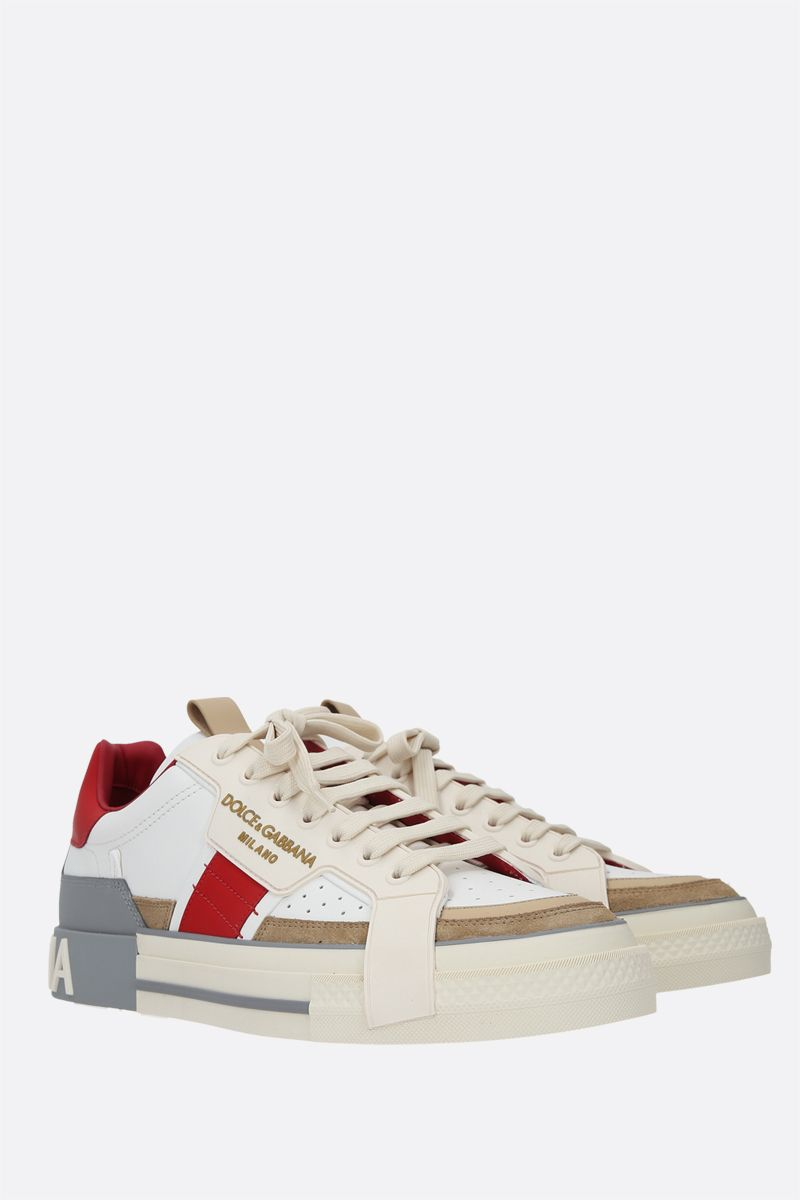 DOLCE & GABBANA: Custom 2.Zero smooth leather and suede sneakers Color Neutral_2