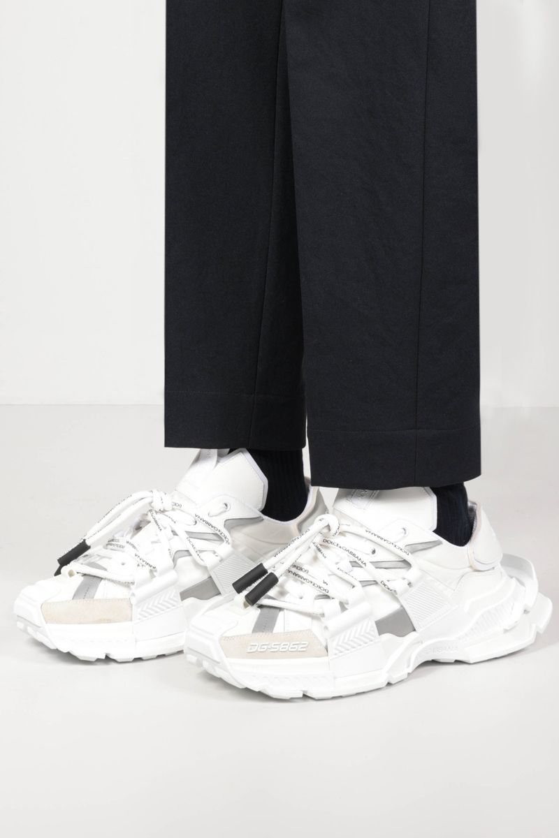 DOLCE & GABBANA: Space sneakers in a mix of materials Color White_2