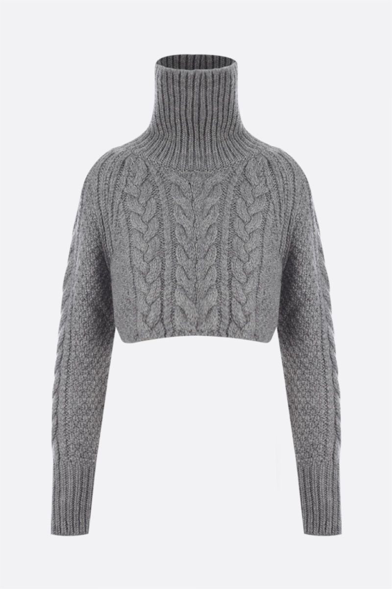 CECILIE BAHNSEN: Giselle alpaca wool blend cropped pullover Color Grey_1