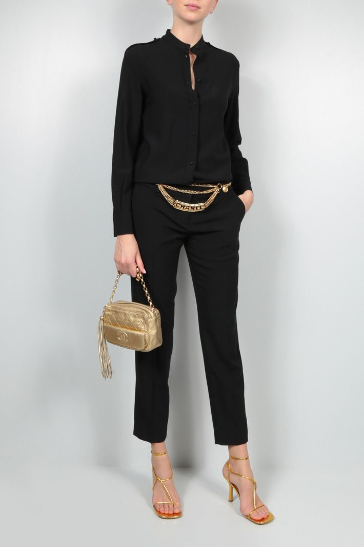 CELINE: trompe l'oeil crepe jumpsuit Color Black_2