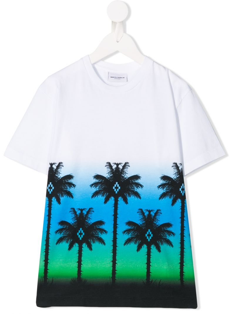 MARCELO BURLON KIDS OF MILAN: Palms print jersey t-shirt Color Multicolor_1