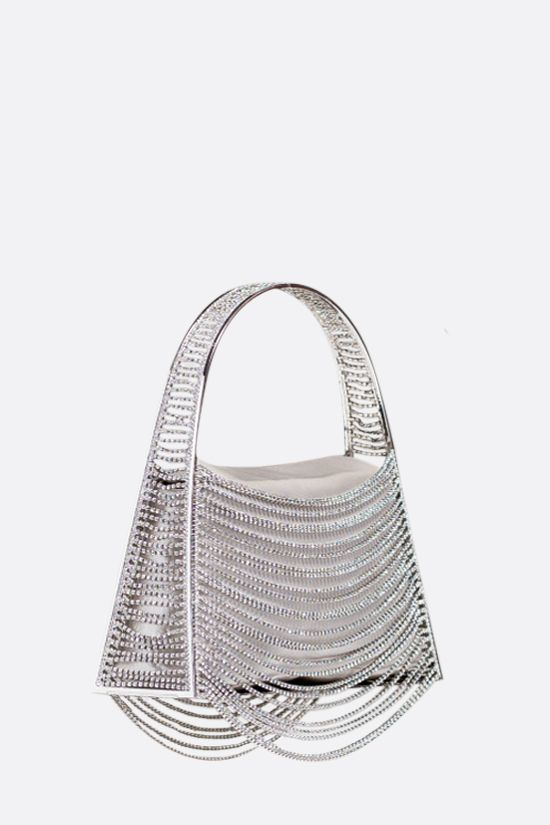 BENEDETTA BRUZZICHES: Lucia In The Sky handbag in brass and crystal rows Color Silver_2