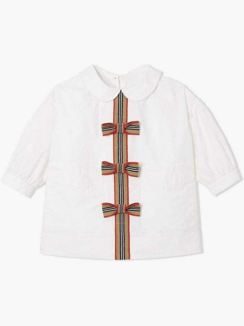 BURBERRY CHILDREN: Icon Stripe-detailed stretch cotton blouse Color White_1