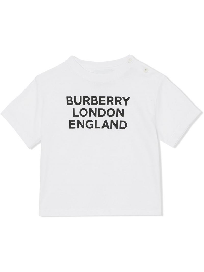 BURBERRY CHILDREN: logo print cotton t-shirt Color White_1
