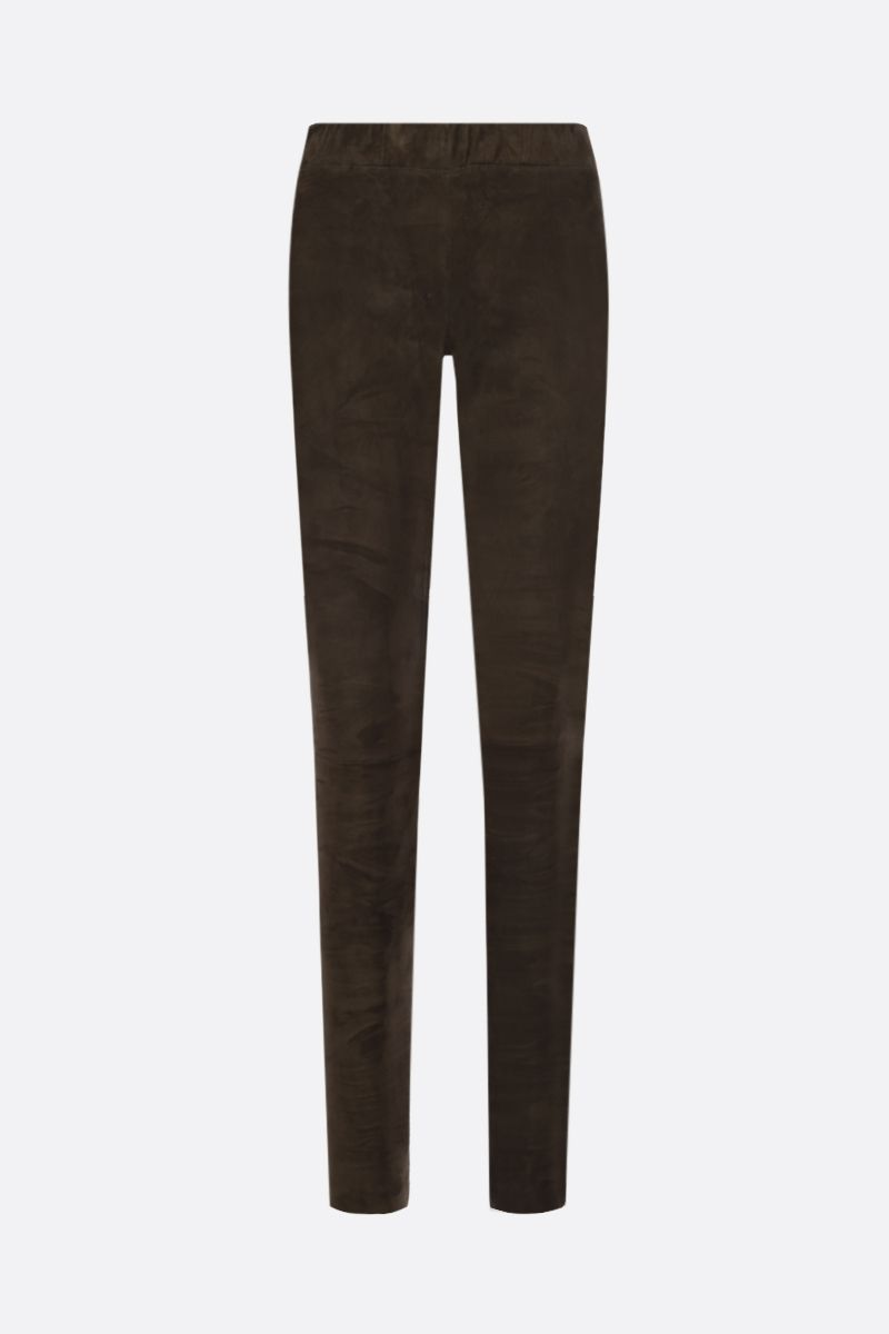 SYLVIE SCHIMMEL: legging Fun in suede stretch Colore Marrone_1