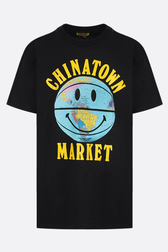 CHINATOWN MARKET: Smiley Globe Ball cotton t-shirt Color Black_1