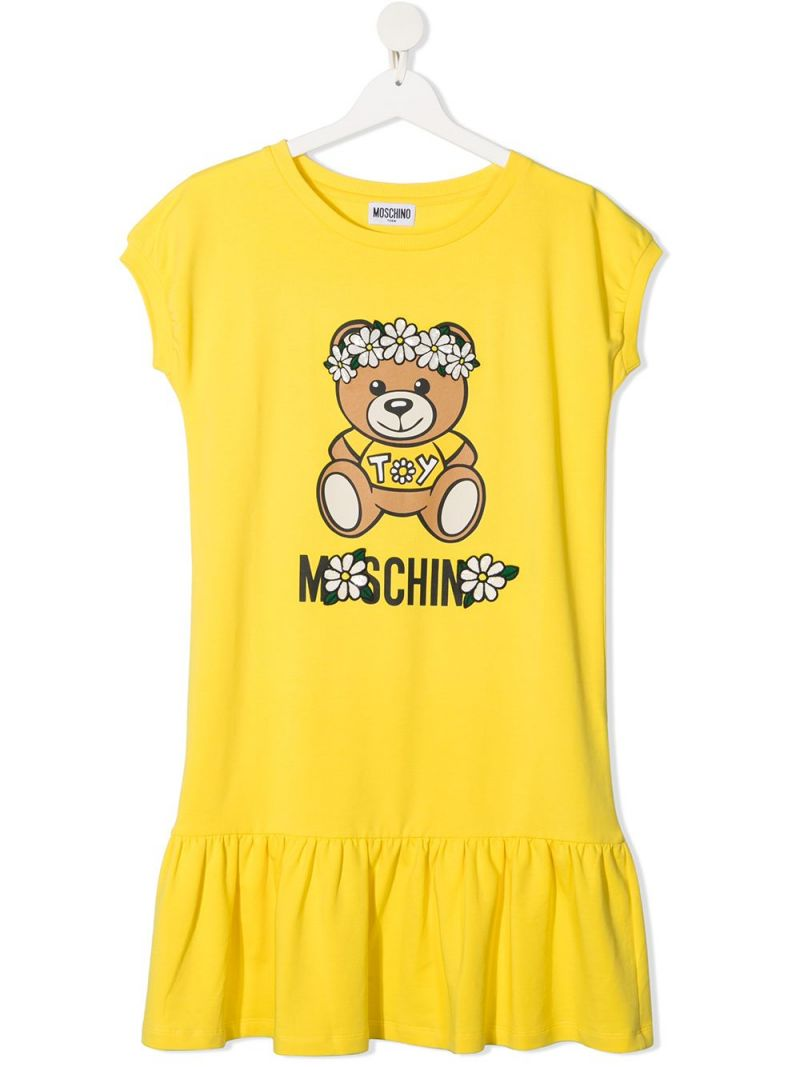MOSCHINO KIDS: Daisy Teddy Bear cotton dress Color Yellow_1