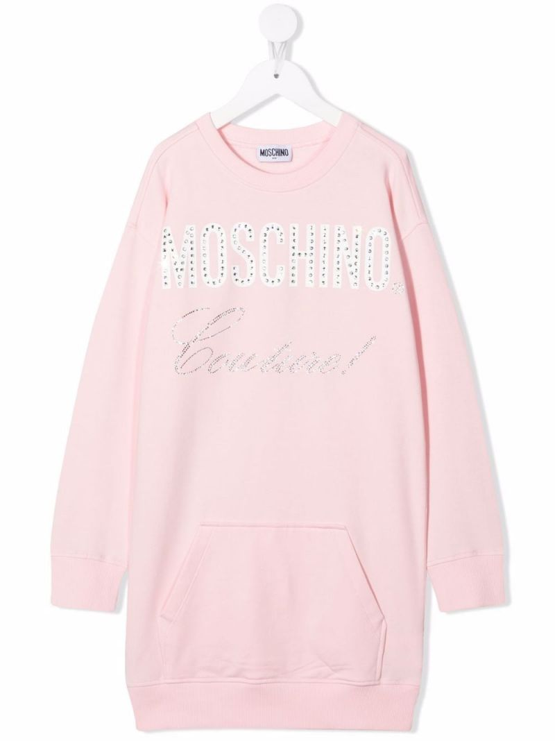 MOSCHINO KIDS: Moschino Couture! stretch cotton dress Color Pink_1
