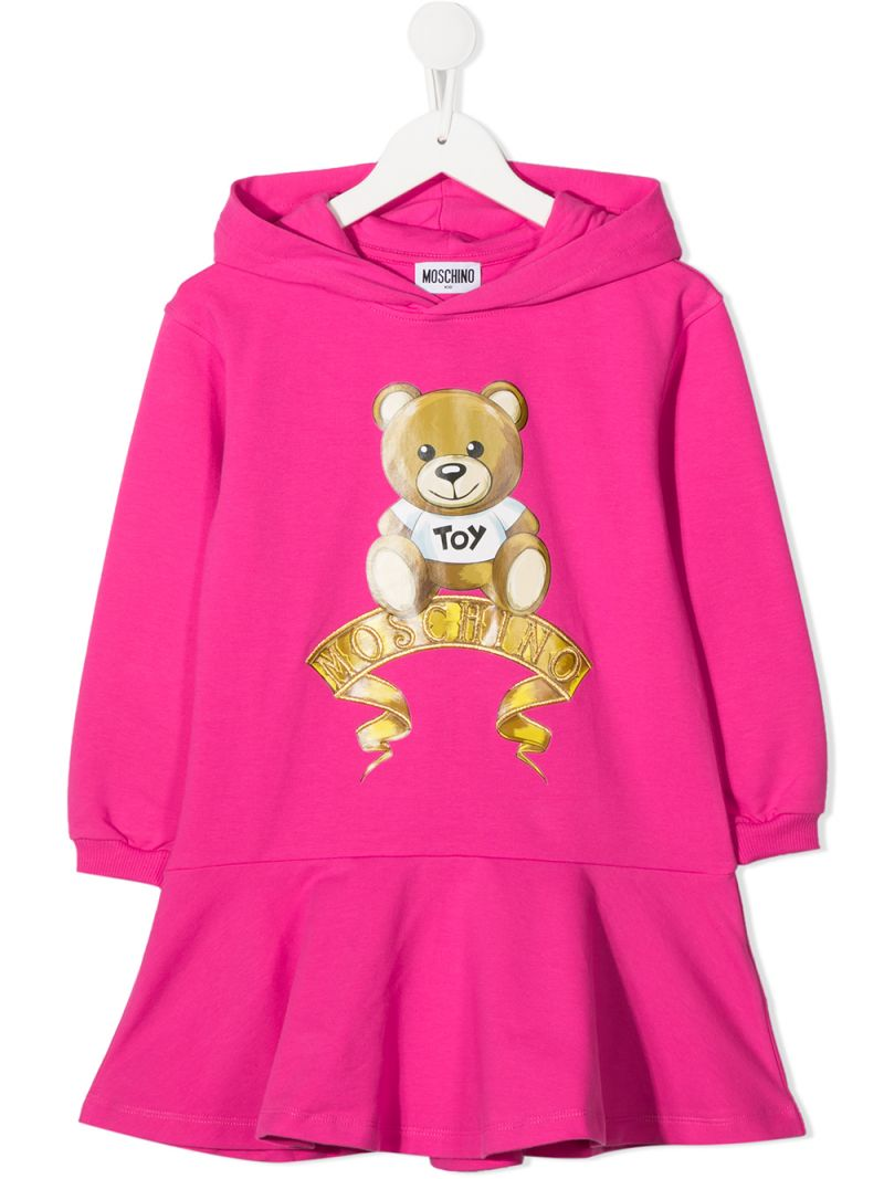 MOSCHINO KIDS: Moschino Teddy Bear print stretch cotton hooded dress Color Pink_1