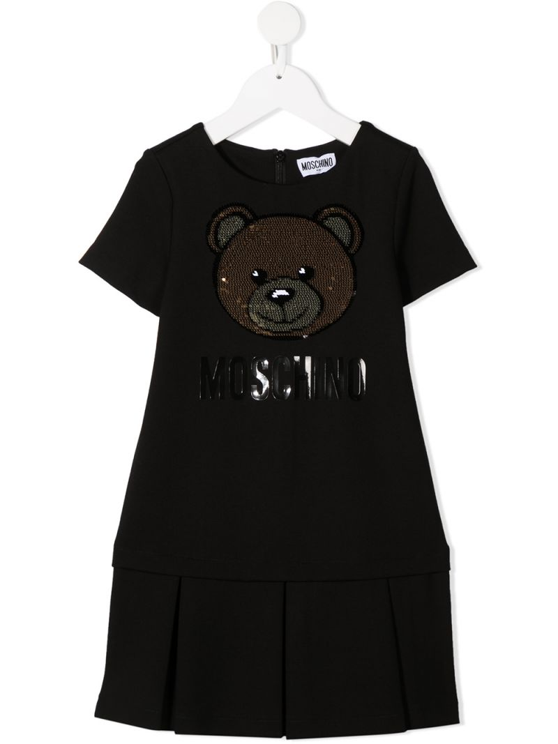 MOSCHINO KIDS: Moschino Teddy Bear embroidered jersey dress Color Black_1