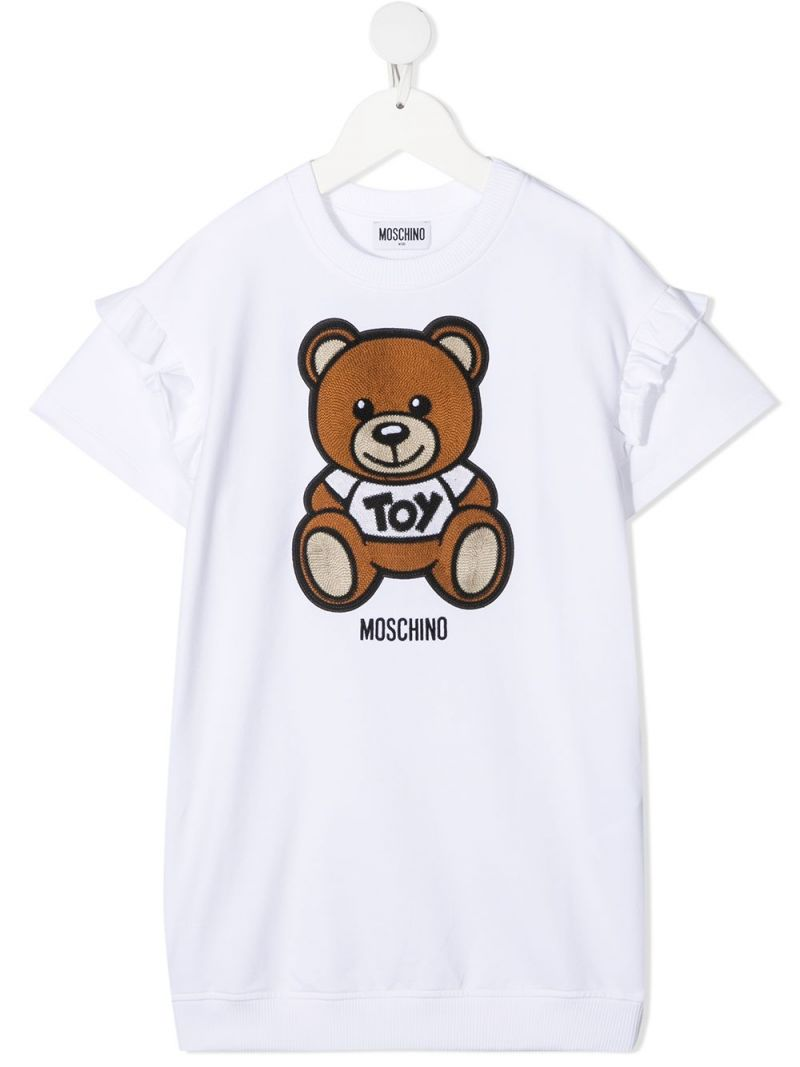 MOSCHINO KIDS: Moschino Teddy Bear patch stretch cotton dress Color White_1