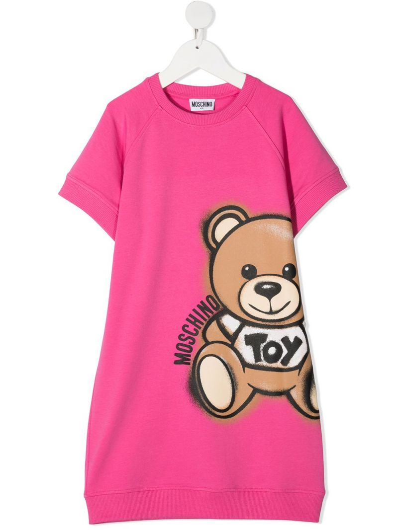 MOSCHINO KIDS: Spray Teddy Bear stretch cotton dress Color Pink_1