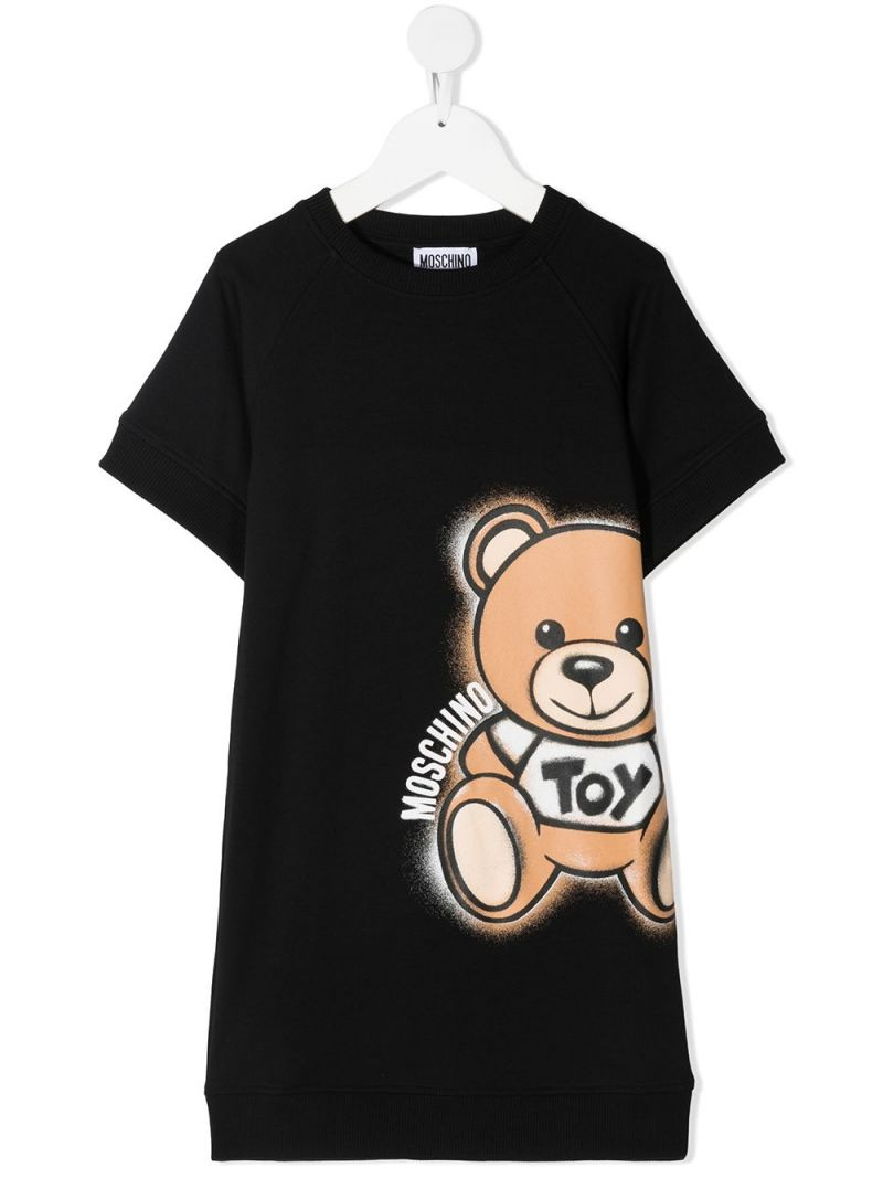 MOSCHINO KIDS: Spray Teddy Bear stretch cotton dress Color Black_1