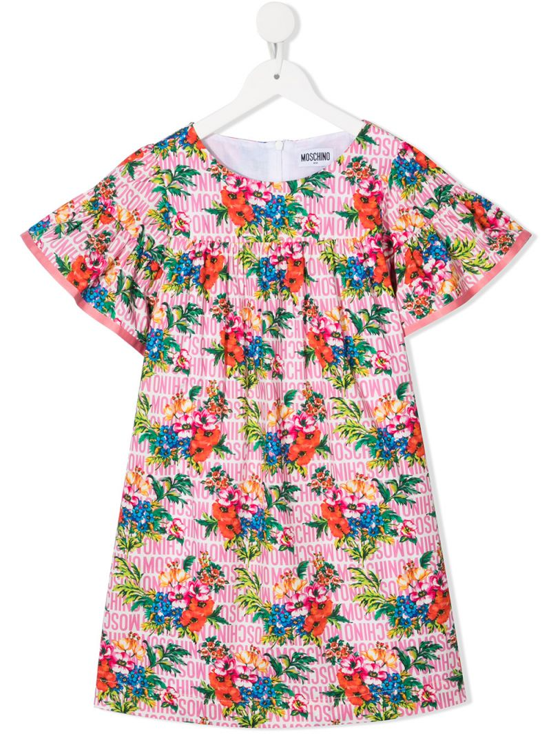 MOSCHINO KIDS: floral print cotton dress Color Multicolor_1