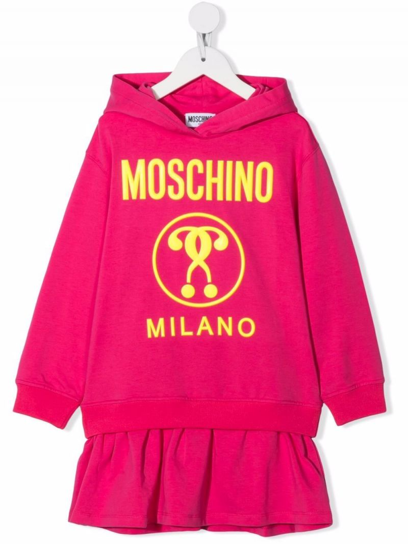 MOSCHINO KIDS: Double Question Mark print stretch cotton short dress Color Red_1