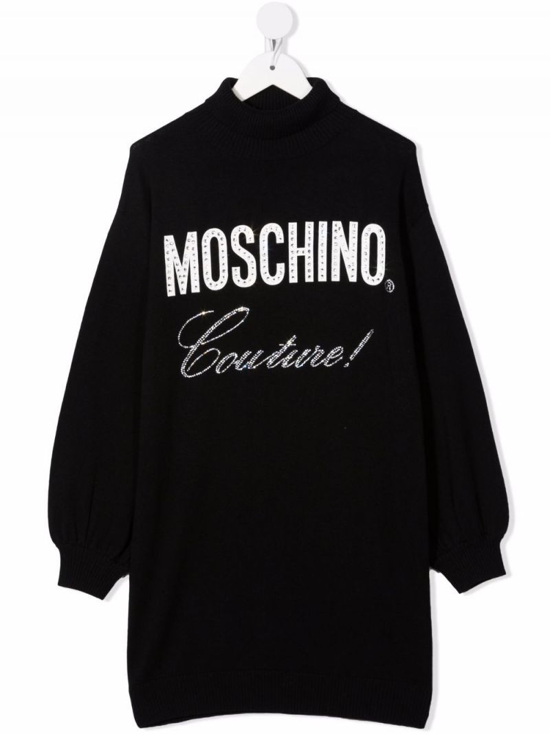 MOSCHINO KIDS: Moschino Couture! wool cotton blend dress Color Black_1