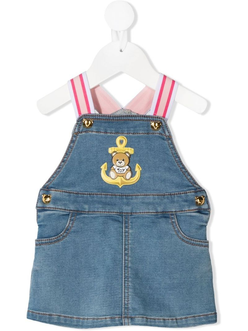 MOSCHINO KIDS: Moschino Teddy Bear patch denim dress Color Blue_1