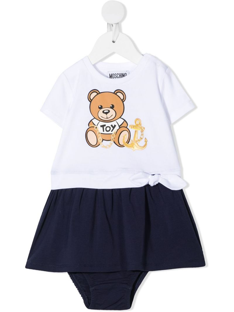 MOSCHINO KIDS: Moschino Teddy Bear print stretch cotton dress Color Blue_1