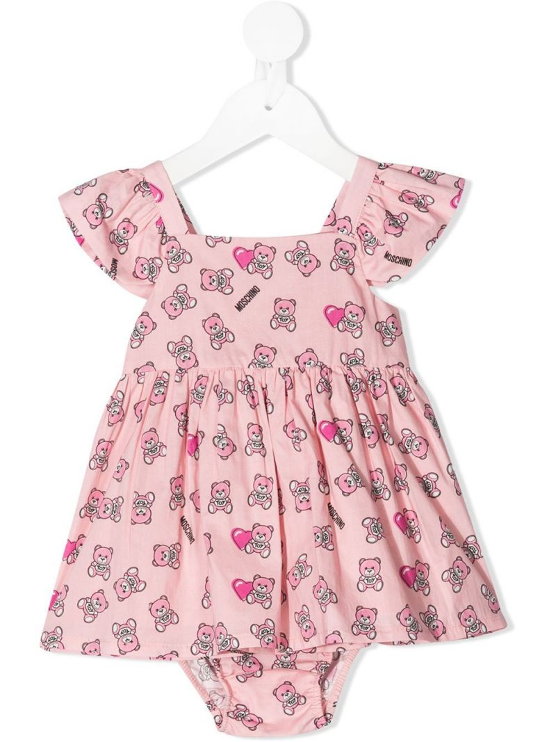 MOSCHINO KIDS: Moschino Teddy Bear print cotton dress with bloomers Color Pink_1