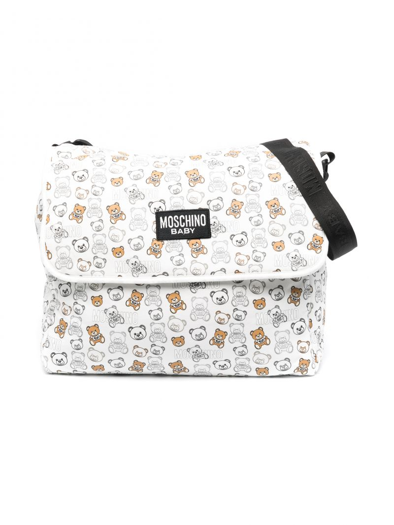 MOSCHINO KIDS: Teddy Bear fabric changing bag Color White_1