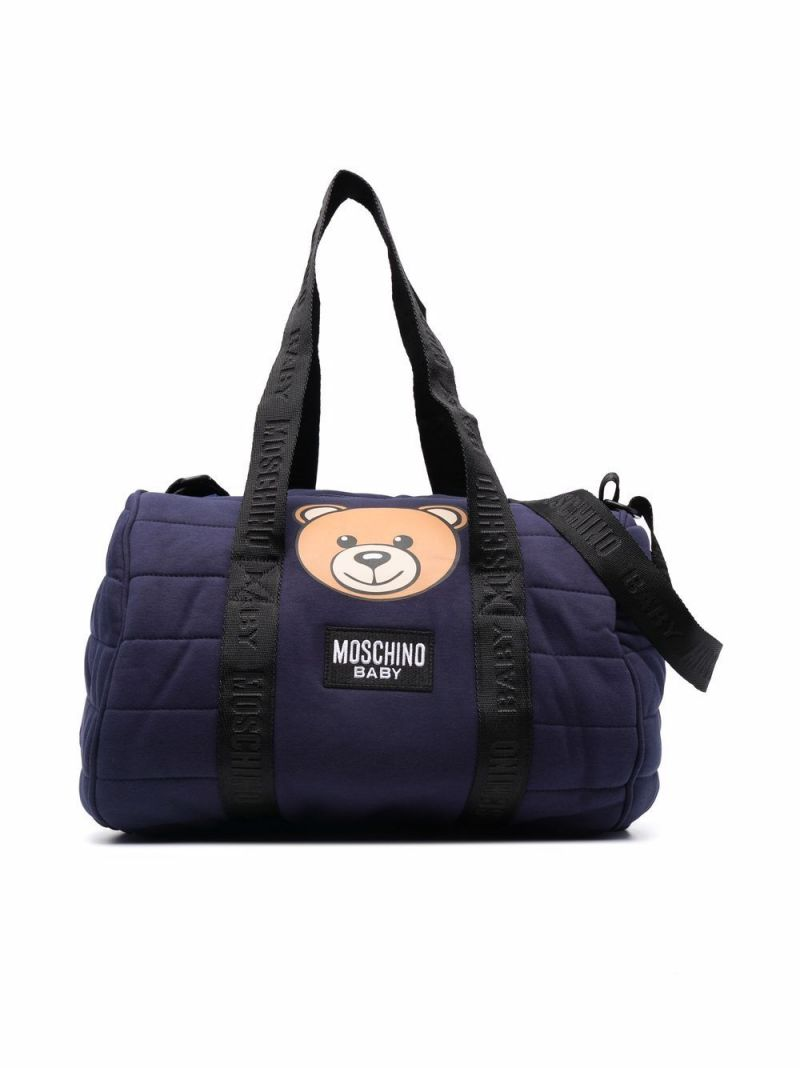 MOSCHINO KIDS: Teddy Bear technical cotton changing bag Color Blue_1